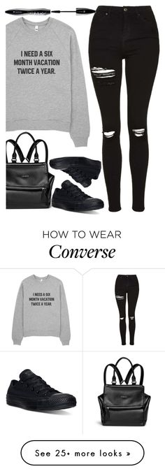 """vacation"" by ecem1 on Polyvore featuring Givenchy, Topshop, Converse and Lancôme"