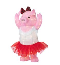 Christmas Dancing Party Pig 32 in Warm White LED Lights Festive Costume Tutu #HomeAccentsHoliday