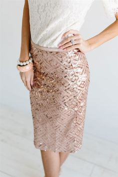 Everyone knows we LOVE sequins! The soft rose gold color of this skirt makes us love them even more! Pencil style skirt slips on, is fully lined and features all over rose gold sequins. Modest Bridesmaid Dresses, Modest Dresses, Bridesmaids, Rose Gold Sequin Skirt, Gold Sequins, Bachelorette Outfits, Rehearsal Dinner Dresses, Family Photo Outfits, Vintage Skirt