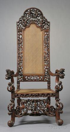 Late Jacobean Carved Walnut Armchair