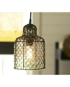Pendant lights are an easy way to update you living room or kitchen. This one is made from hand blown glass and replicates the hexagons of a honeycomb. Buy it here: http://www.bhg.com/shop/pottery-barn-harlowe-wire-and-glass-pendant-p505c366282a71c80fdfdc0d1.html?socsrc=bhgpin102412shoppendantlight