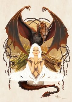 Daenerys Targaryen Mother of Dragons by Lorena Assisi Game Of Thrones Artwork, Game Of Thrones Dragons, Game Of Thrones Houses, Game Of Thrones Fans, Daenerys Targaryen, Khaleesi, Tatuagem Game Of Thrones, Dragon Dreaming, Fandom Games