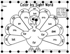 free turkey color by sight word sheets- perfect for Thanksgiving!
