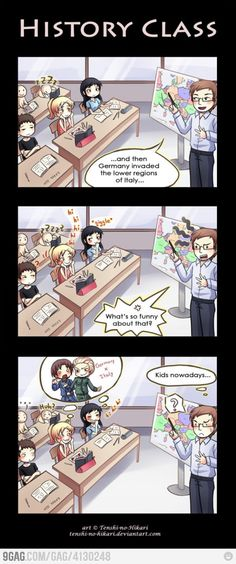 Is funny Every time I'm in History class, I can't help but to think of the countries as their personifications from Hetalia.Every time I'm in History class, I can't help but to think of the countries as their personifications from Hetalia. Anime Meme, Anime Ai, All Anime, Manga Anime, Manga Girl, Anime Girls, What's So Funny, Funny Memes, Hilarious