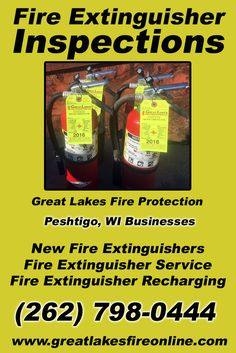 Fire Extinguisher Inspections Peshtigo, WI (262) 798-0444.. Local Wisconsin Businesses you have found the complete source for Fire Protection. Fire Extinguishers, Fire Extinguisher Service.. We're got you covered.. Great Lakes Fire Protection