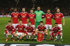 Marcus Rashford (far left on back row) was handed his Manchester United debut as the Red Devils fielded a makeshift team for the Europa League tie     following an injury crisis at the club.