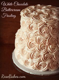 White Chocolate Buttercream Frosting - Rose Bakes  (I would probably use Guittard white chocolate or Vanilla A'Peels since it tastes great)