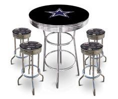 Amazon.com: 5 Piece Dallas Cowboys Logo Chrome Finish Black Pub Table w/ 4 Bar Stools: Home & Kitchen