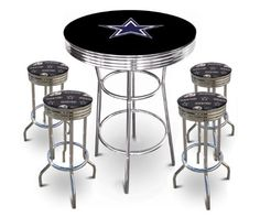 San francisco 49ers nfl 40in pub table homebar game room nfl 5 piece dallas cowboys logo chrome finish black pub table w 4 bar stools 5 watchthetrailerfo