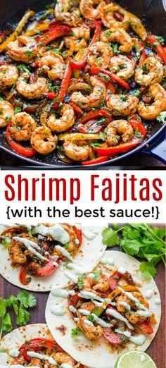 Shrimp Fajitas are so flavorful and easy! A one-pan shrimp fajitas recipe with j… Shrimp Fajitas are so flavorful and easy! A one-pan shrimp fajitas recipe with juicy shrimp, tender vegetables and an amazing fajita marinade. Shrimp Recipes For Dinner, Shrimp Recipes Easy, Seafood Recipes, Mexican Food Recipes, Beef Recipes, Healthy Recipes, Chicken Recipes, Healthy Food, Food With Shrimp
