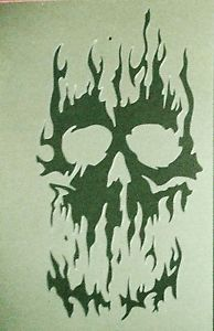 New S12 A4 Airbrushing Stencil Fire Flame Skull Template Textile Paint Craft | eBay