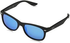 RayBan Junior RJ9052S Square Sunglasses Matte Black  Blue Mirror 47 mm -- Check this awesome product by going to the link at the image. (Note:Amazon affiliate link)