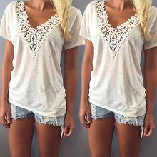 Mode féminine Summer haut manches courtes T Shirt Casual Top Tees Shirt dentelle col en V T-Shirts pour les femmes , Plus la taille S M L XL XXL 5 taille(China (Mainland))