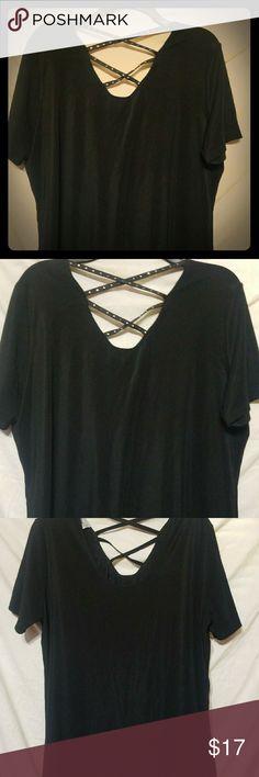 Black sexy shirt V neck black shirt with criss cross backing Very sleek and sexy Fashion Bug Tops