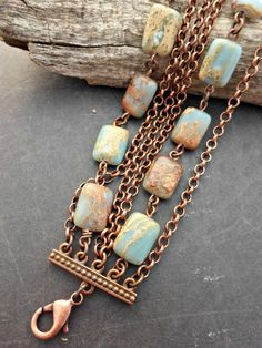 Ocean Jasper gemstone and copper metal bracelet. Multi strand copper chain, stone jewelry.