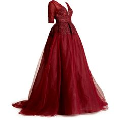 satinee.polyvore.com - Dennis Basso 2015 ❤ liked on Polyvore featuring dresses, gowns, long dress, doll clothes, long red evening dress, doll dress, red evening gowns, red ball gown and dennis basso gowns