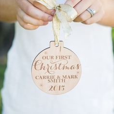 Personalized Christmas Ornament For Newlyweds. It's custom engraved and sure to be a lifetime keepsake that will be cherished forever. Personalized gift ideas, custom gift, custom made gift, handmade gift, thoughtful gift, monogrammed gift ideas.