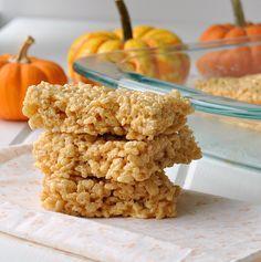 Pumpkin Spice Rice Krispie Treats- yum!  Brown the butter and add a little seasalt to make it even yummier