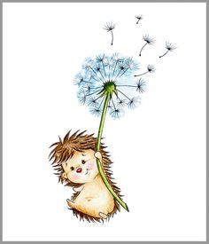 Cute Little Hedgehog -Igel und Pusteblume - Animals wild, Animals cutest, Animals funny, Animals drawings Kids Wall Decor, Art Wall Kids, Art For Kids, Nursery Prints, Nursery Art, Cara Fresca, Baby Room Wall Art, Cute Hedgehog, Fine Art Paper
