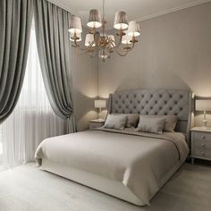 Beautiful Grey Upholstered Bed Decor Color Schemes_27