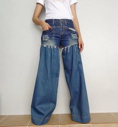 Lace Pants, Ruffle Pants, Lace Ruffle, Fur Clothing, Clothing Hacks, Blue Jeans, Denim Cotton, Cotton Lace, Bell Bottom Pants