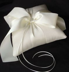 Image of Ivory Silk Dupioni Luxe Bow Ring Bearer Pillow  $90
