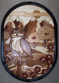 intarsia owl scene by Brian Greiner Bois Intarsia, Wood Projects, Woodworking Projects, Transfer Images To Wood, Intarsia Wood Patterns, Wood Owls, Wood Mosaic, Intarsia Woodworking, Scroll Saw Patterns