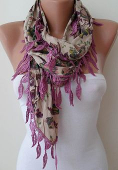 Purple and Tropical Flowered Scarf with Purple Trim Edge
