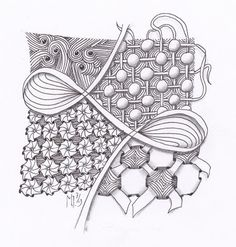 Challenge #129: Use String 004   With variations of Cadent and Huggins and my new tangle Ciceron