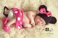 Crocheted Minnie Mouse Newborn Outfit