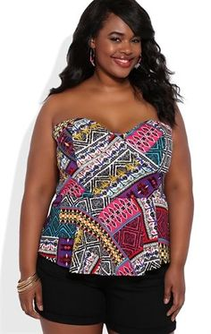 Deb Shops Plus Size Strapless Peplum Top with Colorful Tribal Print $18.75