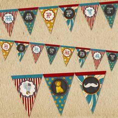 Circus Birthday Banner - Vintage Inspired / Retro Circus Carnival - Personalized, Printable designs - Blackboard, Mustache