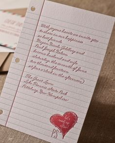 Playful Invitation. A sweet schoolyard note is the inspiration for this quirky invite.