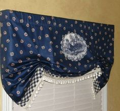 French Country Rooster Balloon Valance Curtain Blue White Waverly Fl Tels