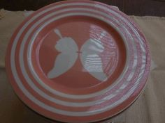FITZ and FLOYD 7 1/2  inch peach,pink SALAD PLATES PAPILLION vintage BUTTERFLY