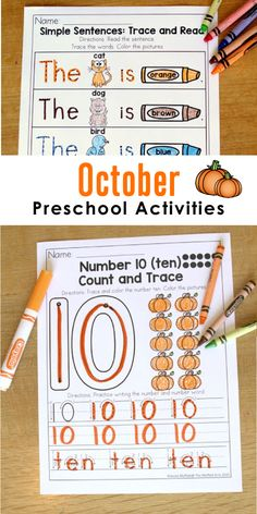 Fun preschool activities for October to teach numbers, letters, shapes, colors and more! Fall Preschool, Preschool Curriculum, Preschool Kindergarten, Preschool Worksheets, Preschool Learning, Learning Resources, Preschool Activities, Teaching Kids, Homeschooling
