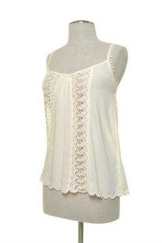 Front Lace Tank Top Color: Cream, Size: Large