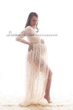 Lace Maternity Gown with 3 quarter sleeves Photo by SilkFairies, $159.00