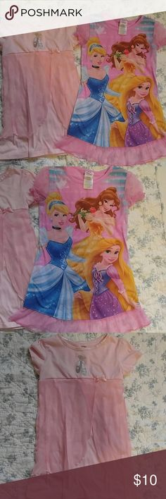Princess nightgown lot Two pink and sweet nightgowns size S or 6. One is from Carter's and has a glitter pair of ballet slippers and tulle ballet skirt. The other is Disney Princess and has tulle ruffle hem and tulle cap sleeves. Both are in gently used condition. Various Pajamas Nightgowns