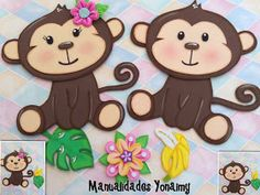 Pin de merly asto en diy and crafts Foam Crafts, Diy And Crafts, Crafts For Kids, Paper Crafts, Animal Art Projects, Animal Crafts, Jungle Decorations, Monkey Girl, Monkey Birthday