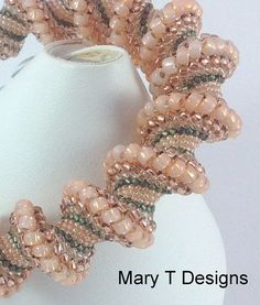 Peach and Moss Green Cellini Spiral Bracelet...EBW by MaryTDesigns, $75.00