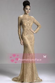 $188--Janique Golden Evening Gowns Sheer Lace Crew Long Sleeves Beadings Applique Sweep Train Sexy Mermaid Bling Prom Dresses