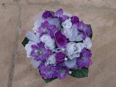 Bouquet de mariée blanc violet et parme