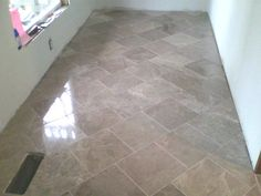 Marble floor I installed, freshly grouted.