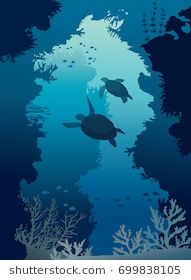 Underwater sea cave with silhouette of two turtles, coral reef and school of fishes. Underwater Drawing, Ocean Drawing, Underwater Sea, Coral Reef Drawing, Coral Reef Art, Underwater Background, Underwater Wallpaper, Under The Sea Drawings, Ocean Illustration