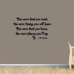 Amazon.com: Dr seuss the more that you read wall art vinyl decals letters love kids bedroom wall sayings: Home & Kitchen
