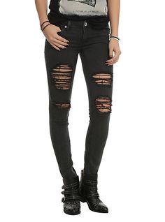 Machine Black Distressed Wash Skinny Jeans   Hot Topic