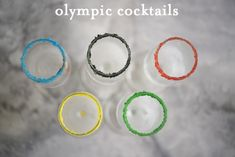 Hosting friends for the Olympics this weekend? Make these three separate Olympic Cocktails from Schoenfeld Schuman / Cupcakes and Cashmere. Party Drinks, Fun Drinks, Yummy Drinks, Beverages, Easy Cocktails, Cocktail Drinks, Cocktail Recipes, Cocktail Cupcakes, Olympic Crafts