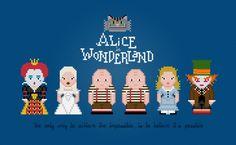 Alice in Wonderland - Cross Stitch Pattern http://pixelpowerdesign.com/shop/movies/product/show/322-alice-in-wonderland