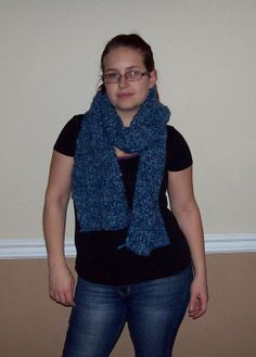 Thick Blue Crocheted Scarf
